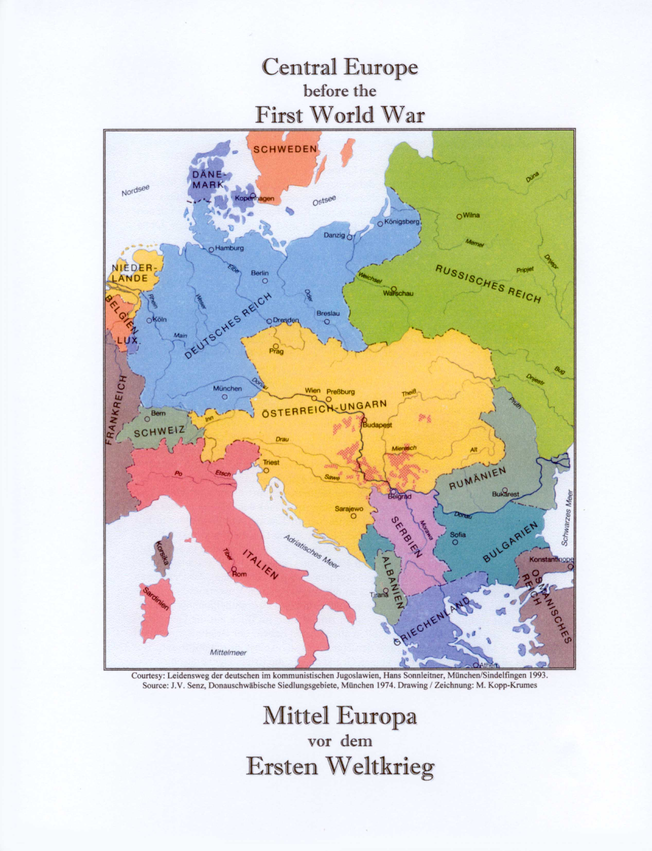 Map Of Europe Before Ww1